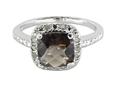 1.10ctw GENUINE DIAMONDS & FACETED SMOKEY TOPAZ IN 925 SILVER RING - Sz 7  DR071