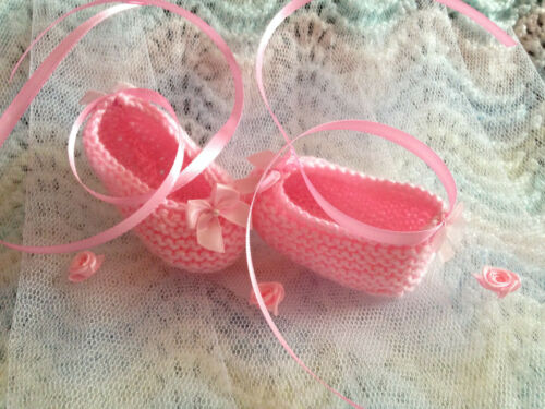WHITE or PINK Sparkle Ballet Shoes//Pumps Satin Bows//Ribbons Newborn OR 0-3 mon