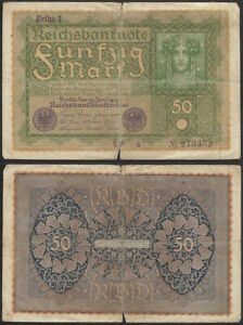 GERMANY-50-mark-1919-P-66-Europe-banknote-Edelweiss-Coins