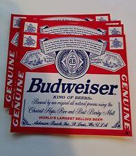 4 New Budweiser vinyl decal beer stickers
