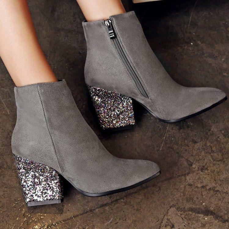 Elegant NEW Womens Faux Suede Chunky High Heels shoes Ankle Boots Sequins Bootie