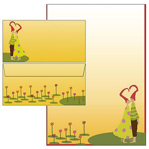 InLove-Paar-Herz-Zipfelmuetze-Set-Motivpapier-Briefpapier-20-Blatt-A4-20-Kuverts