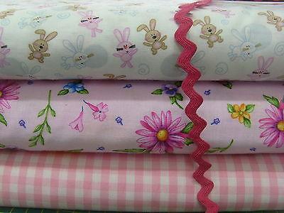 Baumwolle Stoffpaket  Patchwork Baby Kinderstoffe Häschen rosa grün beige