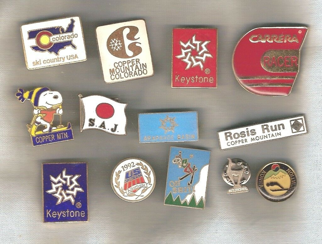 LOT OF 13 METAL SKIING SOUVENIR BADGES