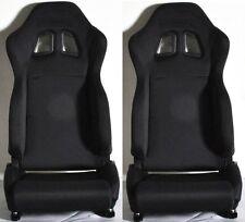 2 BLACK CLOTH RACING SEATS RECLINABLE + SLIDERS FOR HONDA