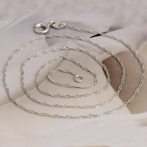 10K-White-Gold-Filled-GF-Soft-Water-Wave-Chain-Necklace-45cm-Long-2mm-Wide