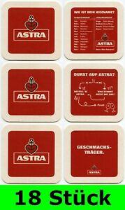 18 Stück Bierdeckel ASTRA (6x3er Serie) Bavaria St. Pauli Brauerei Hamburg Bar