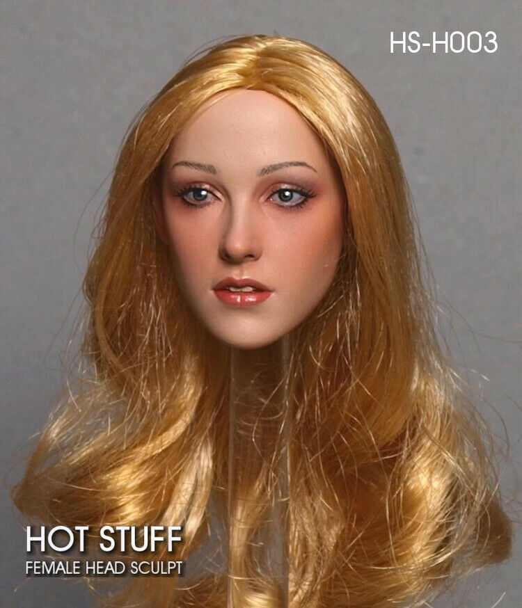 1 6 HOT STUFF HS-H003 Asian Beauty Female Head Sculpt Blonde Hair Head Model Toy