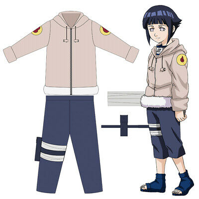 Anime Shippuden Hinata Hyuga Ninja Uniform Cosplay Costume Coat+Pants Full Suits