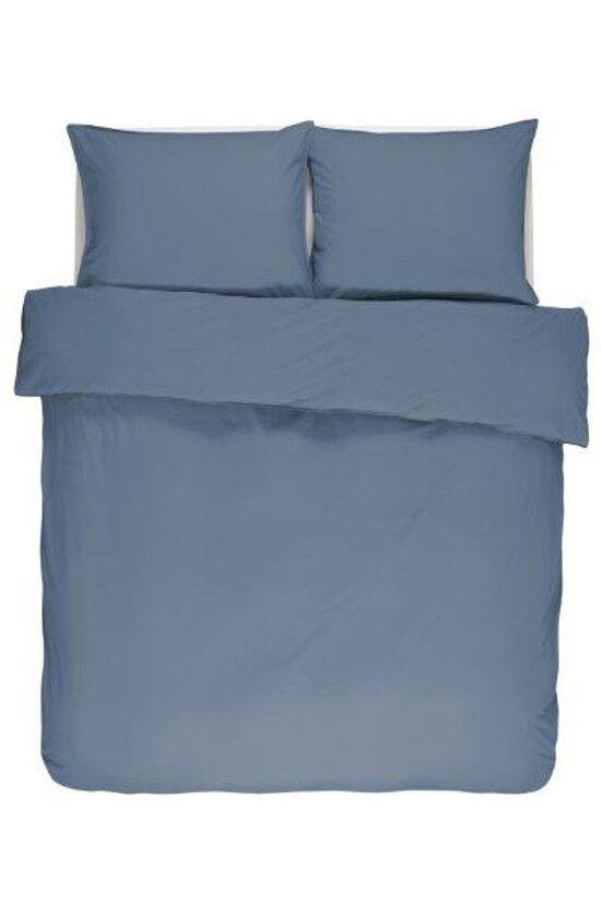 Essenza Bettwäsche Guy Blau 3 Größen Baumwolle Renforce Vintage washed Uni Blau