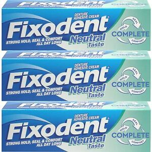 3-x-Fixodent-Neutral-Complete-Denture-Adhesive-Cream-Strong-Hold-Food-Seal-47ml
