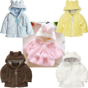 84e4b5aa5 Newborn Baby Boy Girl Hooded Fur Coat Winter Warm Thick Cloak Jacket ...