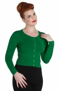 HELL-BUNNY-Ladies-Paloma-50s-Green-Cardigan-UK-Sizes-XS-amp-L
