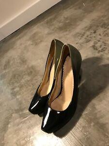 Medici-Women-039-s-Grey-Black-Patent-Leather-Heels-Pumps-Stilettos-SZ-39-8-5