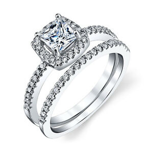 Sterling-Silver-CZ-Engagement-Wedding-Ring-Set-Cubic-Zirconia-Princess-Cut