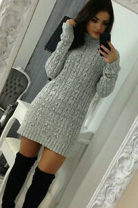 Ladies Womens Cable Knitted Polo Roll Neck Jumper Long