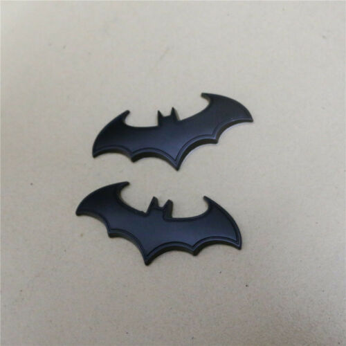 2PCS Matte Black Big Bat Sticker Metal Badge Decal Emblem Limited Sport Turbo 3D