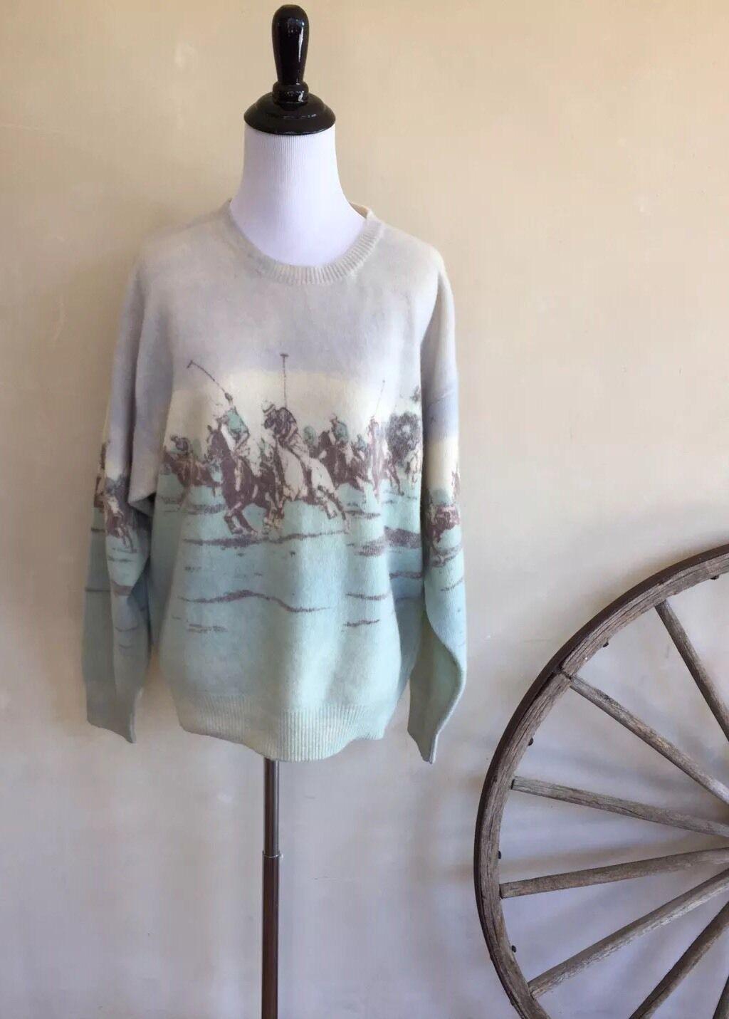 RALPH LAUREN Vtg 80's Equestrian Horse Polo Lambswool Sweater USA XL VERY RARE