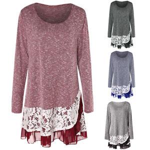 Plus-Size-Women-Lace-Trim-Blouse-Pullovers-Oversized-Knit-Jumper-Sweatshirt-Tops