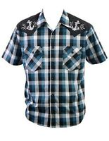 Steady Clothing Mens Anchors Away Western Plaid Button Down Shirt Made In Usa