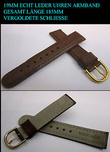 Soft-Real-Leather-Watch-Strap-in-Brown-18mm-New-Gold-Plated-Clasp