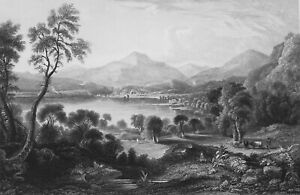 SCOTLAND-Lake-Loch-Venachoir-1839-Antique-Print-Engraving
