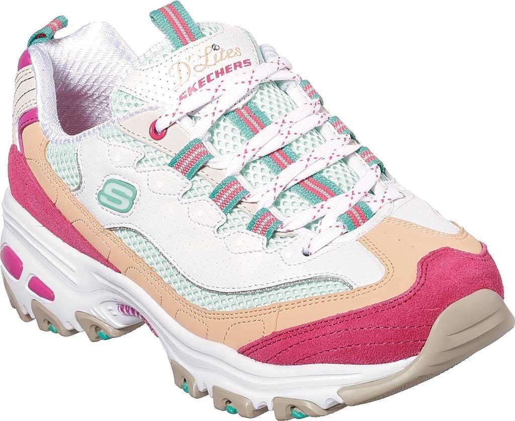 Skechers D'Lites Second Chance Sneaker (Women's shoes) in White Multi - NEW