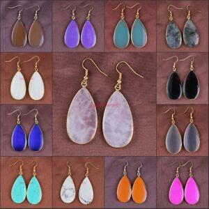 18K-Gold-Rose-Quartz-Agate-Turquoise-Agate-Gemstone-Dangle-Hook-Women-039-s-Earrings