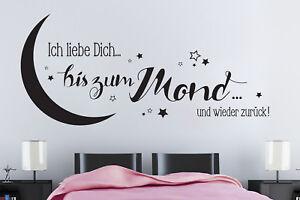 Ich liebe Dich bis zum Mond 672 Schlafzimmer Wandspruch ...
