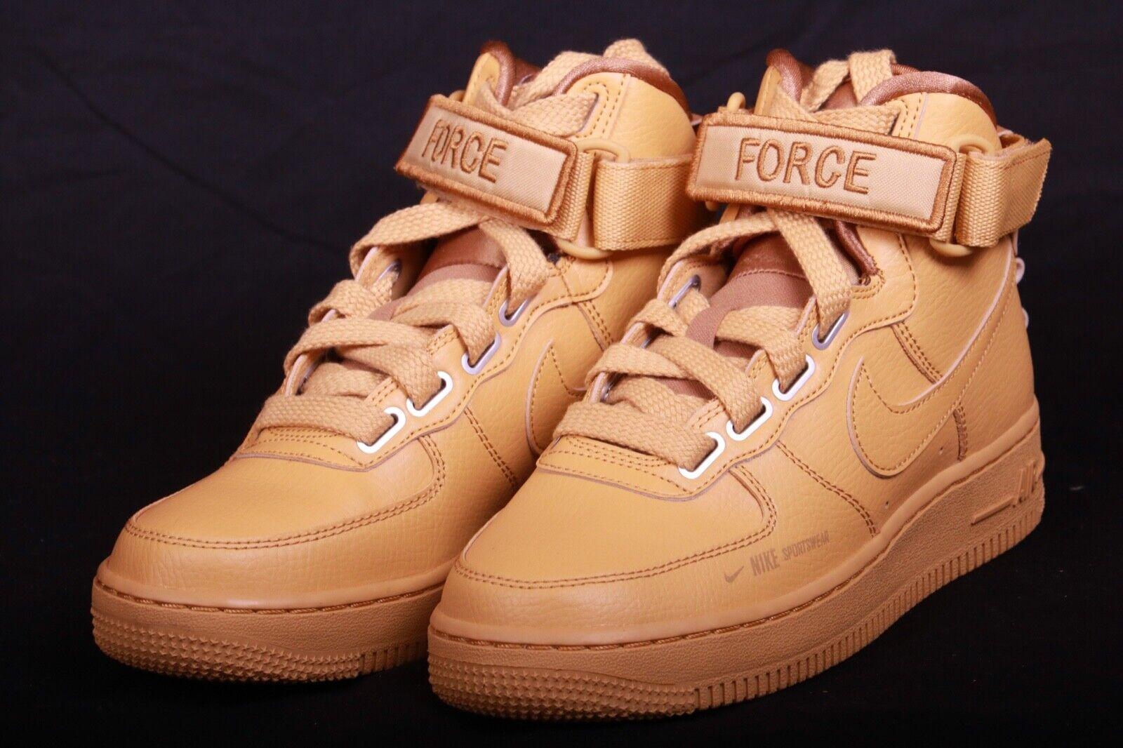 Nike Women's Air Force 1 High Utility shoes gold Bronze AJ7311 700 Size 6