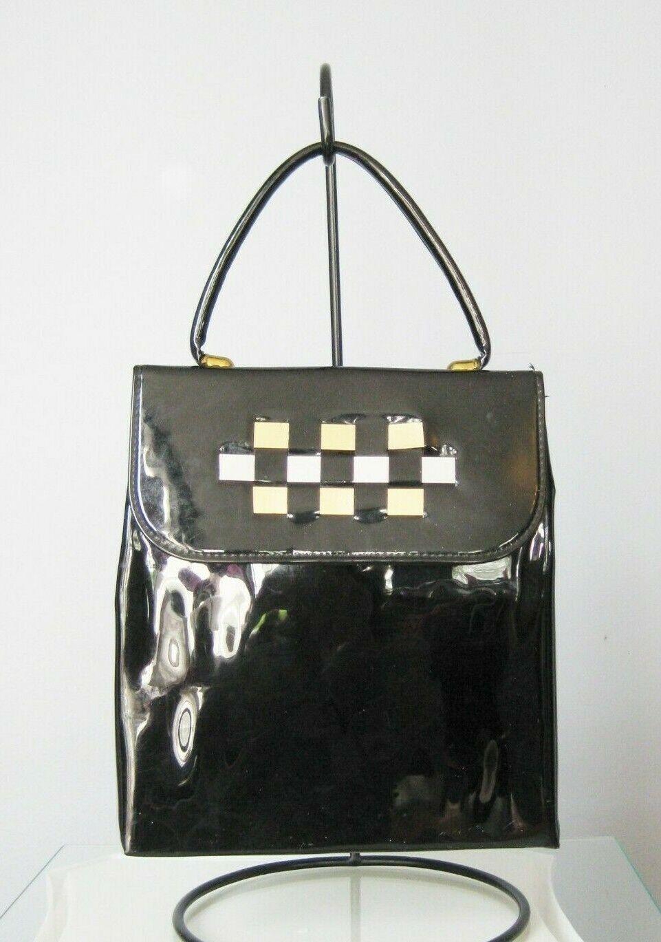 Vintage Patent Leather Top HandBag Black North South Slim Purse