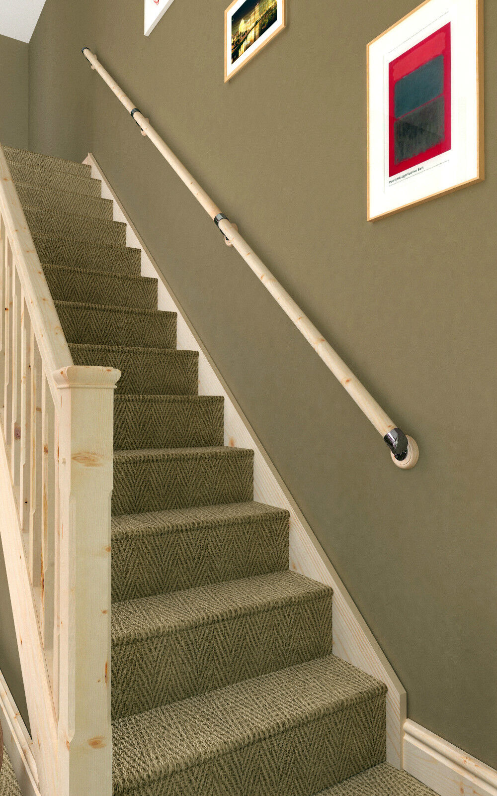 Axxys Pine Wall Mounted Handrail Set with Brushed Nickel ...