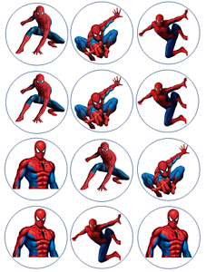 12-Spiderman-Edible-Wafer-Paper-Cupcake-Toppers