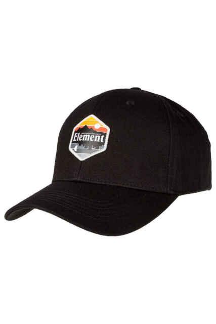 a8768342516 ELEMENT Camp II Mens Snapback Hat  NEW Black Cap HERRINGBONE TWILL Free  Shipping
