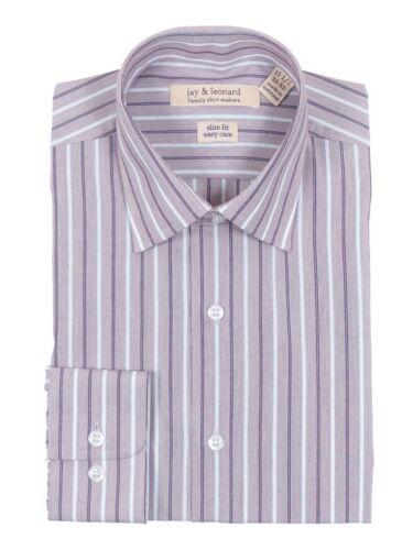 Mens Slim Fit Easy Care 100/% Cotton Burgundy Striped Standard Cuff Dress Shirt