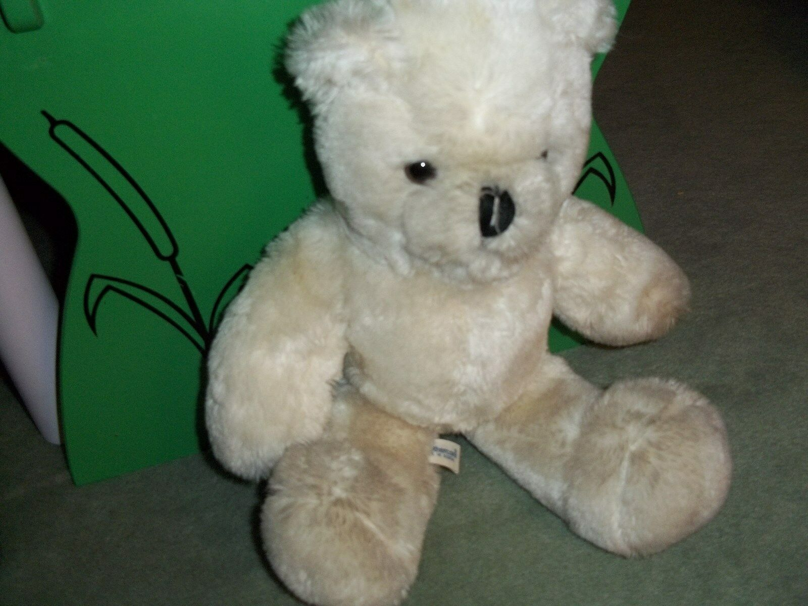 VINTAGE MOTHERCARE WHITE ACRYLIC 14 INCH TEDDY