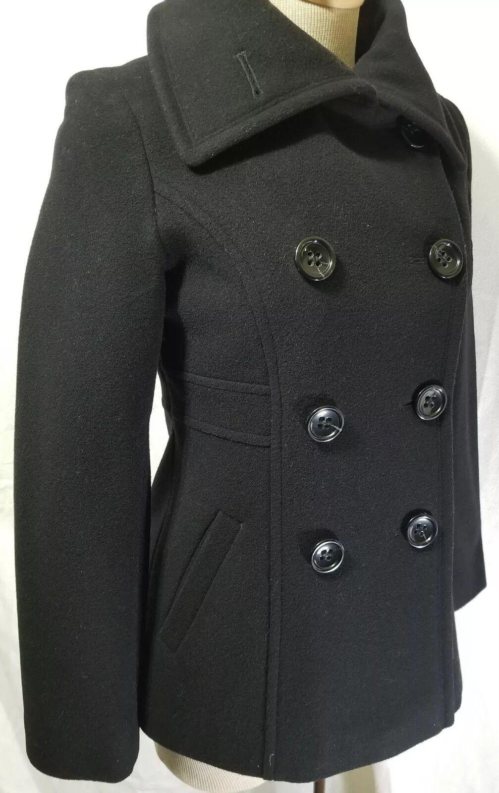 DKNY Women's Wool Blend Peacoat Size 4 Military Double Breasted women Karan NY