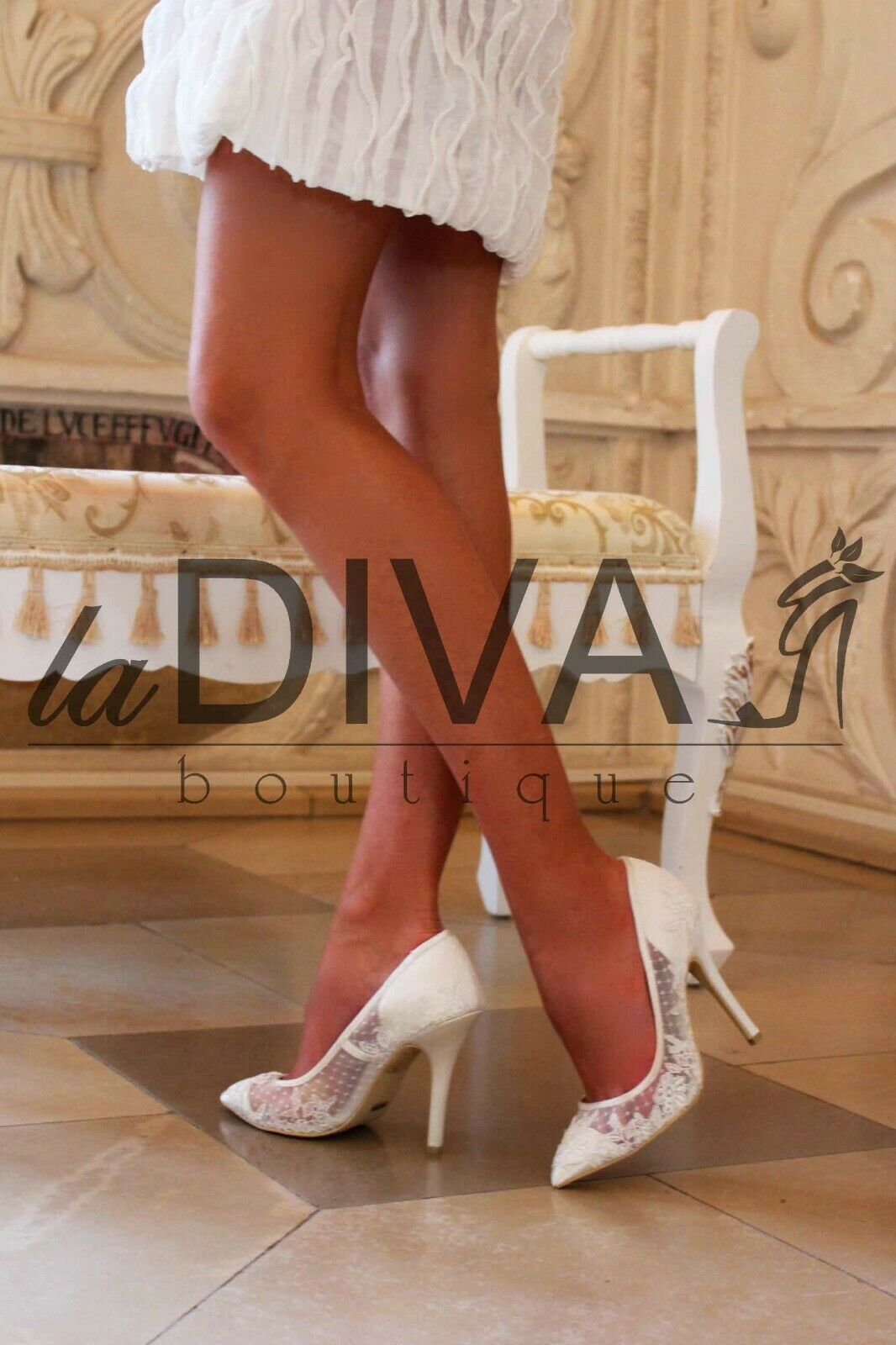 Menbur  pumps made of lace with Real Embroidery 39 Ivory White Bridal shoes