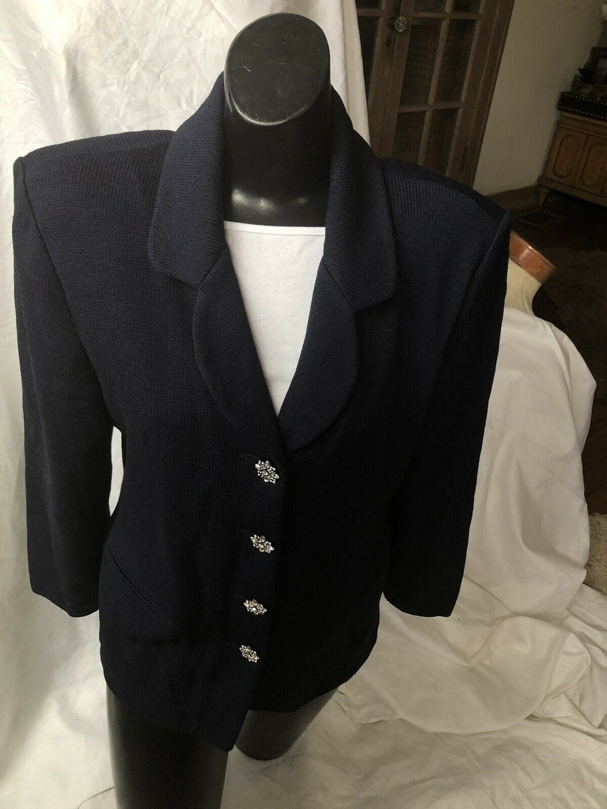 ST. JOHN Evening COLLECTION Blazer Long Sleeve bluee Size 10 Bling Stone Buttons