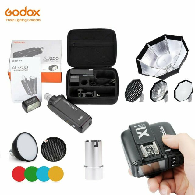 Godox 2.4 TTL HSS Two Heads AD200 Flash+ X1 Trigger+ Color Filter + Softbox Kit
