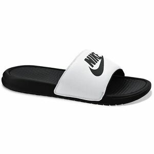 786ef50105e7 New Men s Nike Benassi JDI Slide Sandals White Black size 7 8 9 10 ...