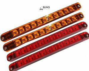 Details about 2 amber 2 red 17 led light bar trailer truck stop turn tail clearance marker image is loading 2 amber 2 red 17 034 led light mozeypictures Choice Image