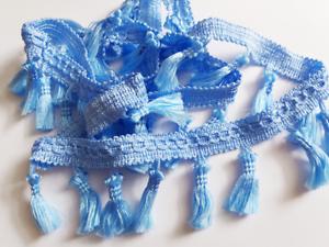 pompon Ruban Fringe Tassel Trim Bande Avec Glands Pour Rideaux Craft Bleu ciel
