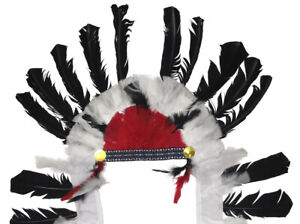 Indian-Native-American-Feather-Headdress-Feathered-Adult-Costume-Accessory-NEW