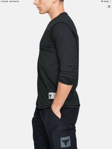 Details about  /NEW W// TAG Under Armour Project Rock Long Sleeve Black Henley Shirt Size Medium