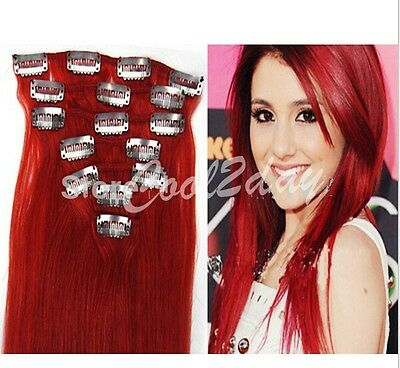 """15-24"""" 70g 7 pcs set 100% Full Head Clip In Remy Real Human Hair Extensions Red"""