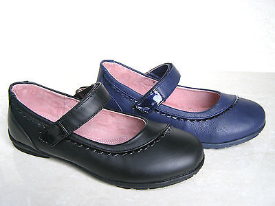 NEW GIRLS NATURAL LEATHER LINED BLACK STRAPS PUMPS SCHOOL SHOES SIZES UK 10 11 3