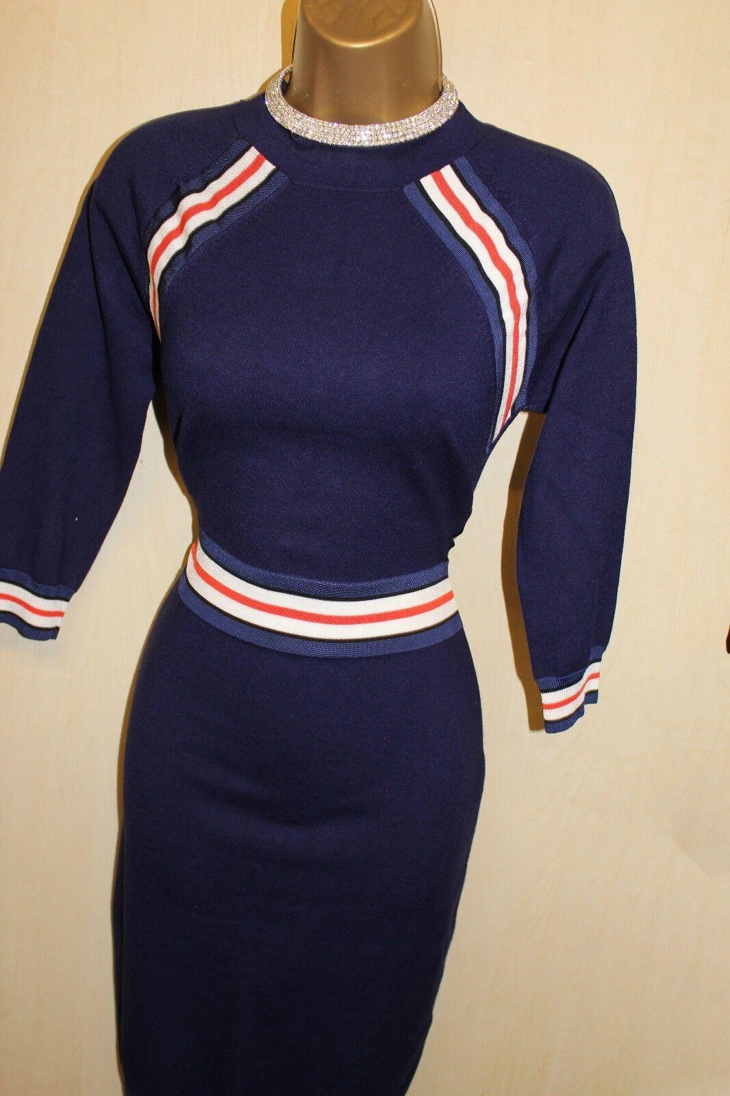 - - - Grande UK KM 14-16 Karen Millen Celebrity Blu Navy a Righe Maglione Abito Bodycon Knit 177587