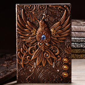 Retro-Notizbuch-Tagebuch-Notebook-Reisetagebuch-Handarbeit-Phoenix-Gravieren