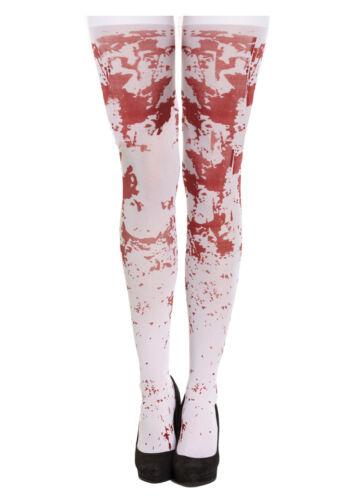 Halloween Femmes Ensanglanté Bas Costumes Infirmière Zombie Collant UK